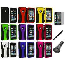 Color Black 3-Piece Rubberized Case Cover+LCD+Charger+Pen for iPhone 3G 3GS