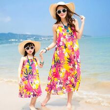 2017 summer chiffon kids girls dress Red flower Family mother daughter dresses