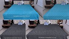 INDIAN KANTHA QUILT BEDSPREAD FLORAL PRINT BLANKET QUEEN SIZE COTTON GUDARI