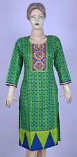 Indian Green Kurta Kurti Club Wear Dress Cotton Tunic Wear Hand Printed Tunics