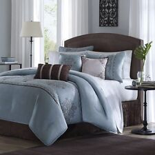 7pc Luxury Blue and Brown Embroidered Comforter Set w/Bed Skirt Shams & Pillows