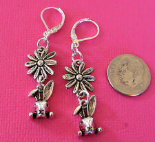EASTER BUNNY DAISY Charm Silver Plated LEVERBACK Drop Earrings OPTIONS