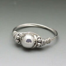 Sterling Silver Wire Wrapped Bali Bead Ring