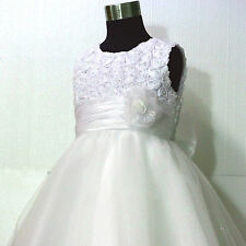 W810 Girl White Christening Bridal Pageant Dresses Flower Girls Dress SIZE 1-10Y