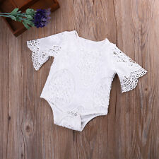 Newborn Baby Girl Lace Floral Romper Bodysuit Jumpsuit Playsuit Outfits Clothes