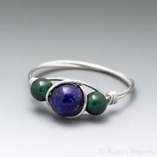 Lapis Lazuli & Malachite Sterling Silver Wire Wrapped Bead Ring - Ships Fast!