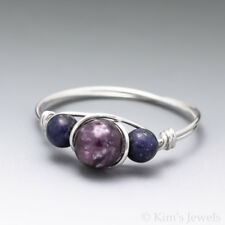 Lepidolite & Lapis Lazuli Sterling Silver Wire Wrapped Bead Ring