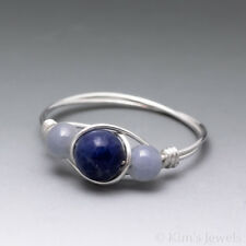 Lapis Lazuli & Angelite Sterling Silver Wire Wrapped Bead Ring - Ships Fast!