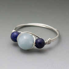 Aquamarine & Lapis Lazuli Sterling Silver Wire Wrapped Bead Ring