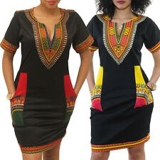 Fashion Women's Traditional African Print Dashiki Dresses Party Tops Shirt Dress