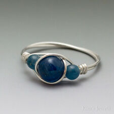 Blue Apatite Sterling Silver Wire Wrapped Bead Ring