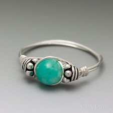Russian Amazonite Gemmy Bali Sterling Silver Wire Wrapped Bead Ring