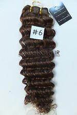 Medium Brown Curly Weft Hair No Clips Deep Weaving 100%Real Human Hair Extension