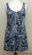 WHITE STUFF Blue & White Floral Tunic Top with Pockets - Size 10