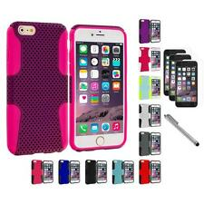 For Apple iPhone 6 (4.7) Hybrid Rugged Mesh Case+3X Screen Protector+Pen