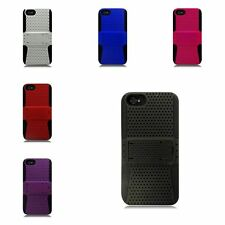 TPU Rubber Hard PC Candy Skin Mesh Kickstand Case Cover For Apple iPhone 5 / 5S