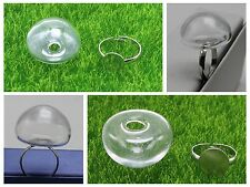 DIY Silver Adjustable Ring with 25mm 28mm Clear Glass Terrarium 1/2 Globe Bottle