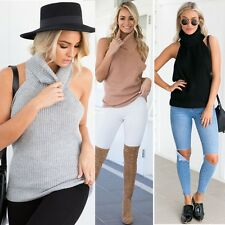 Women Backless Turtleneck Knitted Jumper Solid Pullover Sleeveless Sweater Vest