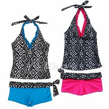 Kids Girls Two Piece Halter Tankini Swimwear Bikini Set Swimsuit Bathers Clothes