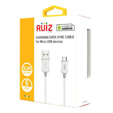 RUIZ Cellet 6FT Long Charging Data Sync Micro USB Charger Cable Cord - White