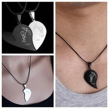2PCs Lover Necklace Couple Pendant Broken Heart Stainless Steel Fashion Jewelry