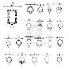 23 style 20-80pcs Tibetan Silver Bar Ring Toggle Clasps Metal Connector Findings