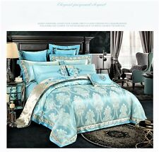 9pc. Luxury Light Blue Silk Cotton Embroidered Queen King Duvet Cover Bed Set