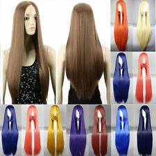 Top Long Full Wigs Cosplay Multicolor Straight Synthetic Hair Wig Black Women k7