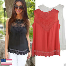 Women Summer Vest Top Sleeveless Blouse Casual Loose Tank Tops Lace T-Shirt