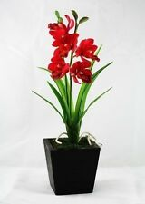 """Real Touch 10"""" Cymbidium Orchids Artificial Flowers Made from Clay"""