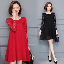 plus size women Long Sleeve Dress Party Evening Fashio Mini Dress lace Dress hot