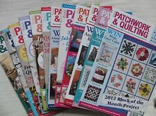 British Patchwork and Quilting Magazine, January to December 2012 issues 216-227
