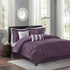 7pc Modern Plum Purple Comforter Set Shams Bed Skirt with Pillows
