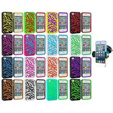 Hybrid Zebra Hard/Soft 2-Piece Case Cover+Windshield Mount for iPhone 4 4G 4S