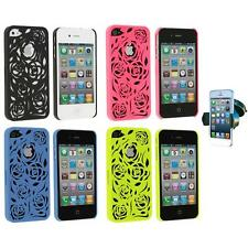 Lovely Carving Rose Flower Hard Case Cover+Windshield Mount for iPhone 4 4G 4S