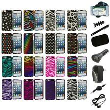 Zebra Polka Dot Hard Design Case Cover+8X Accessory for iPod Touch 5th Gen 5G