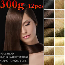 12PCS 300g Real Hair Extensions Clip In Remy 100%Human Hair Extensions Full Head
