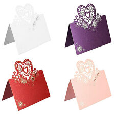 50/100pcs WEDDING PARTY PEARLESCENT LASER CUT LOVE HEARTS PLACE CARDS TABLE NAME