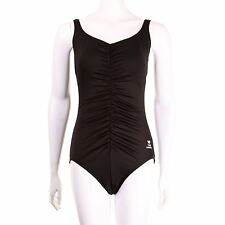 TYR Solid Shirred Front Tank One Piece Swimsuit Swimming Costume Womens Black-
