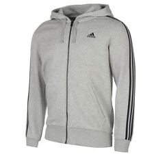 adidas Essentials 3 Stripe Logo Full Zip Hoody Mens Grey Hoodie Sportswear Top