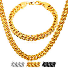 U7 18K Gold Plated 6MM Franco Chain Necklace Bracelet Cool Men's Jewelry Set