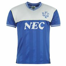 Everton FC 1986 Home Jersey Score Draw Mens Royal Retro Football Soccer Shirt