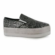 Jeffrey Campbell Play Glitter Platform Shoes Womens Black/Wht Trainers Sneakers