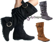 Women's Shoes Mid Calf Knee High Slouch Boots Comfort Casual Flat Buckles Sizes