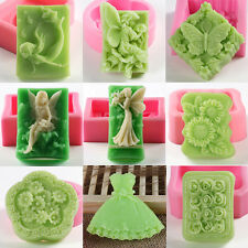 Vintage Flowers Soap Mold Candle Silicone Cake Candy Chocolate Fondant Molds DIY