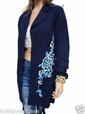 Size 14-20 UK Ladies womans navy long winter floral embroidered cardigan wrap