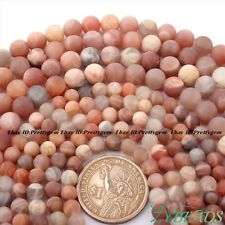 "Sunstone Natural Round Multicolor Frost Gemstone Beads Loose Strand 15"" 6mm 8mm"