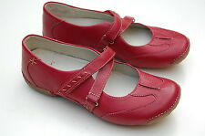 Clarks Ladies Flat Rip-Tape Shoes Funky Chime Cherry Red Leather UK 4