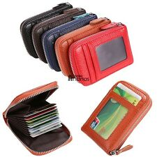 Holder PU Leather Mens Wallet ID Credit Card Purse Womens Fashion Zip Case 5AN18
