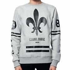 Mens Criminal Damage Fleur Crew Graphic Sweatshirt Grey NEW